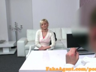 FakeAgent Sexy blonde pounded over the desk in Casting interview
