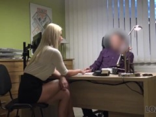 LOAN4K. Sexy blonde pays for her debts using her perfect body
