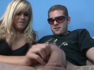 cute blonde mows on biggest white cock!