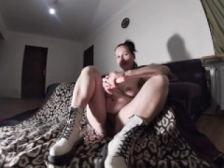 Punk Bitch in White Boots Choosing a Dick Bigger than Dildo