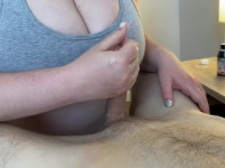 Brazilian girl with huge natural tits gives best titfuck