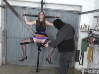 Slave Girl Has her Legs Spread and her Pussy Fisted Hard