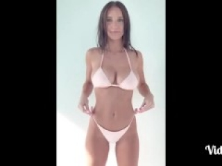 Busty petite girl saggy boobs, tits spilling out of bikini