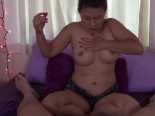 Asian With Big Boobs Covers My Cock With Jam and Gives Me A Foot-job