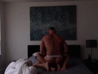 Muscle daddy fucks and breeds twink bareback