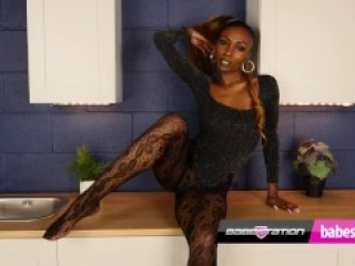 British ebony stunner Laylah Riat shows you her pussy at Babestation