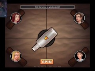 Playing the spin the bottle game with three sluts