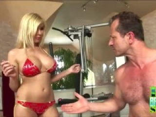 Big Tits Blonde Donna Bell Sexercise At The Home Gym
