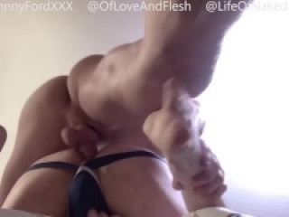 2 of 2 - Tattoo bubble butt jock gets fucked by Johnny Ford's hung uncut cock