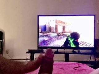 Bored Step Sis Gives FootJob Playing CoD MW