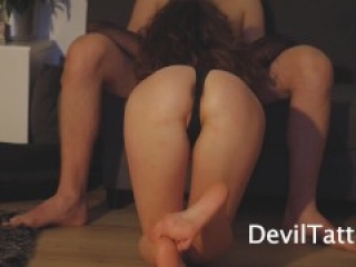 Beautiful babe jumping on a big cock
