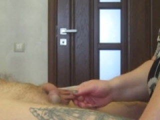 mother-in-law sucks and jerks off my cock getting a portion of sperm