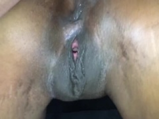 Ebony pussy creampied and squirts cum out