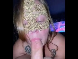 Milf with big tits takes a huge cum load in her mouth