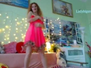 redhead russian girl dance strip, open legs and zoom pretty pussy