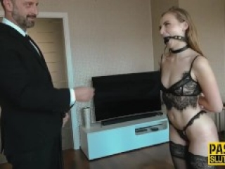 Bound and whipped sub gets throat and pussy fucked