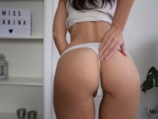 HOT FITNESS GIRL TRYING ON PANTIES AND TEASING